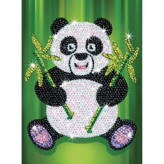 Niedliches Paillettenbild Panda, 28x37x4cm Sequin Art Red...