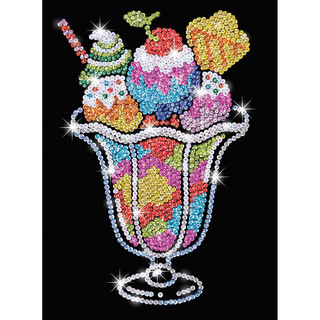 Cooles Eisbecher Sequin Art Blue Bild, 28x37x3,5cm Paillettenbild Pop-Art