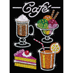 Farbenfrohes Sequin Art Blue Café, 28x37x3,5cm...