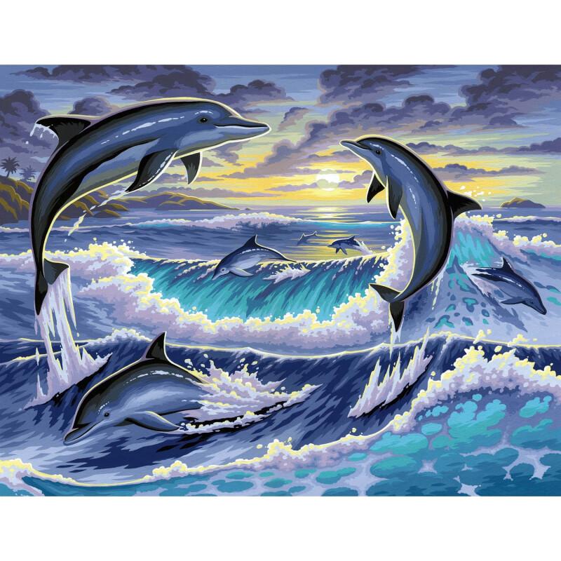stilvolles malen nach zahlen senior  delfine 395x32x2cm