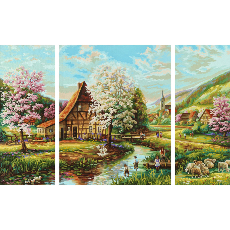 Ländliche Idylle Malen nach Zahlen Schipper 50 x 80 cm Landschaft Vorlage
